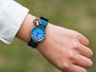 蓮、きれいね腕時計Mパステルブルー 江戸文字の画像