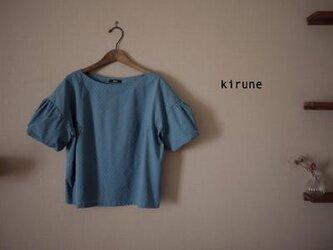 【受注制作】*ドットミニョンのバルーンスリーブラウス ブルー/Mサイズ*の画像