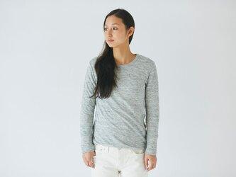リネンニット women/L 長袖プルオーバー(グレー)の画像