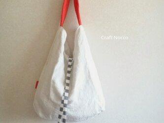 ワンハンドルのリバーシブルbag 白.赤 + しましまの画像