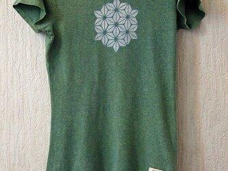 ヘンプ/オーガニックコットン エンジュと藍の緑染めレディースMサイズ 麻の葉の画像