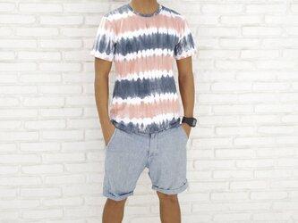 メンズタイダイクルーネックストレッチTシャツ <サンセットビーチ> サイズLの画像