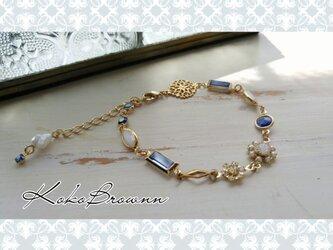 ヴィンテージスワロフスキーの贅沢ブレスレット*blue*の画像