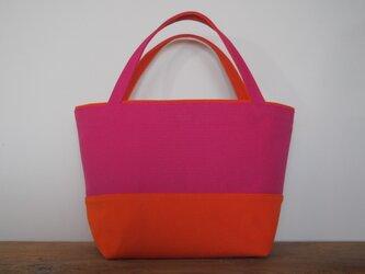 倉敷8号帆布 ピンク×オレンジ ♡シンプルミニトートの画像