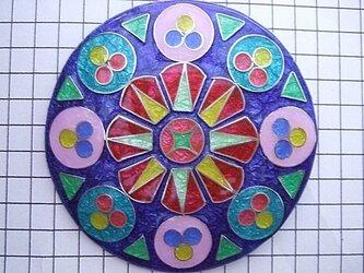 銀七宝 ノートルダム 薔薇窓 直径6cm ブローチの画像
