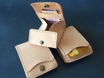 【染色可】カードとコインの財布Ⅱ CC-10 コインケース ヌメ革生成りの画像
