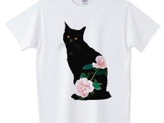084黒猫バラTシャツ【男女兼用タイプ】の画像