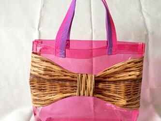リボンプールバッグ《ピンク×バスケット柄》の画像