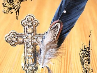 渡り鳥の羽根飾り 黒鳥(ホロホロ鳥)の画像