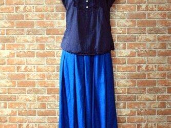 ヨーロッパリネン タックギャザースカート ブルー 着丈約77cmの画像