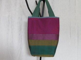 sac3  赤紫とグリーンのトートバッグの画像