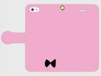 【送料無料】手帳型スマホケース リボン(ピンク×黒)の画像
