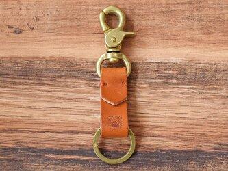 真鍮と栃木レザーのアンティークなキーホルダー 【キャメル】名入れできますの画像