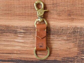 真鍮と栃木レザーのアンティークなキーホルダー 【ブラウン】名入れできますの画像