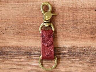 真鍮と栃木レザーのアンティークなキーホルダー 【ワインレッド】名入れできますの画像
