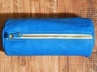 しなやかで柔らかい山羊革のビッグペンケース(ポーチ) ブルー の画像