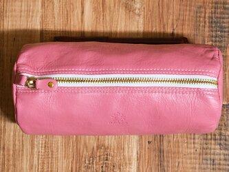 しなやかで柔らかい山羊革のビッグペンケース(ポーチ) ピンクの画像