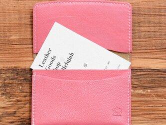 しなやかで柔らかい山羊革の名刺入れ ピンク 名入れできますの画像