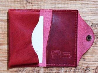 ブエブロレザー 名刺入れ 軽やかな姫路のホースレザーをしっかりと縫製しました ワインレッド 名刺ケース 名入れできますの画像