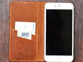 姫路レザー iPhoneX 8 8plus 7,7Plus,SE,6s,6sPlus ケース 馬革 手帳型【キャメル】名入れ可の画像