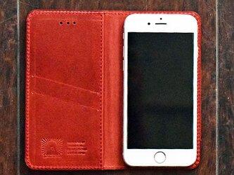 姫路レザー iPhone12,11,XSMax,XR,X,8,7,7Plus ケース 馬革 手帳型 【ワインレッド】 名入れの画像