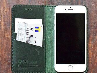姫路レザー iPhoneX 8 8plus 7,7Plus,SE,6,6Plus ケース 馬革 手帳型 ダークグリーン 名入れの画像