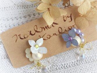 【noilmok】紫陽花のドロップピアス~white& ravender~の画像