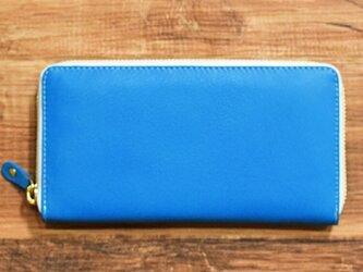 オールレザーで仕上げたラウンドファスナー長財布 なめらかな山羊革使ってます 【ブルー】 名入れ可の画像
