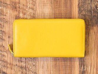 名入れ刻印可 牛革 オールレザーで仕上げたラウンドファスナー長財布 【イエロー】の画像