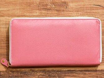 オールレザーで仕上げたラウンドファスナー長財布 なめらかな山羊革使ってます 【ピンク】 名入れ可の画像