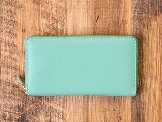 名入れ刻印可 牛革 オールレザーで仕上げたラウンドファスナー長財布 【ターコイズ】の画像
