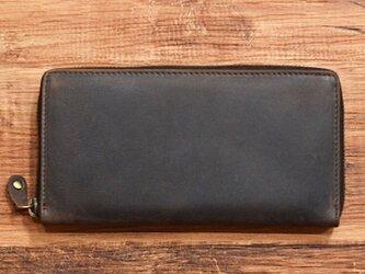 オールレザーで仕上げたラウンドファスナー長財布 もちろん本革 ブラウン 名入れできますの画像