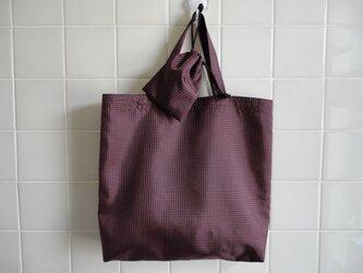 エコバッグ 濃茶*赤チェック(小袋付)の画像