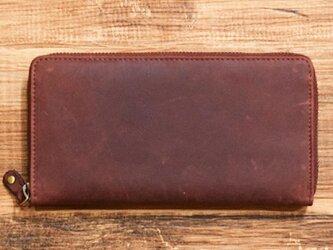 オールレザーで仕上げたラウンドファスナー長財布 もちろん本革 ワインレッド 名入れできますの画像