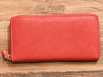 オールレザーで仕上げたラウンドファスナー長財布 もちろん本革 レッド 名入れできますの画像