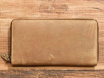オールレザーで仕上げたラウンドファスナー長財布 もちろん本革 キャメル 名入れできますの画像