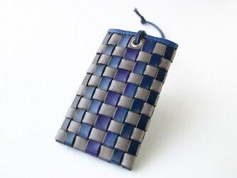 手染め革 風のパスケース 青の画像