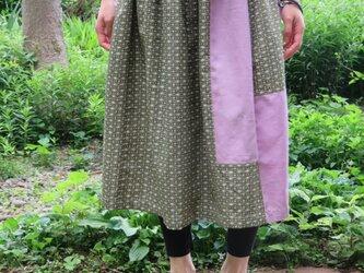 着物リメイク ギャザースカート パープルグリーンの画像