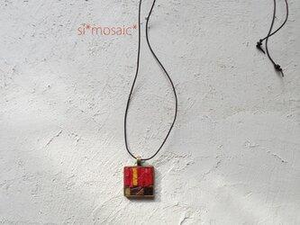 ガラスモザイクネックレス Roja(赤)の画像