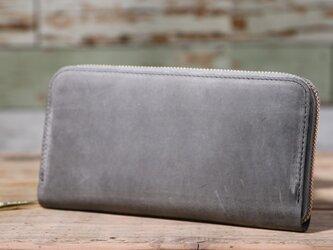 日本産オーバーキップ吟スリヌバック グレー 長財布 ラウンドファスナー 牛革 皮 ハンドメイド 手作りの画像