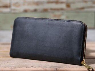日本産オーバーキップ吟スリヌバック 黒 長財布 ラウンドファスナー 牛革 皮 ハンドメイド 手作りの画像