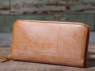 イギリス産 ブライドルレザー トーマスウェア社 キャメル 長財布 ラウンドファスナー 牛革 皮 ハンドメイド 手作りの画像