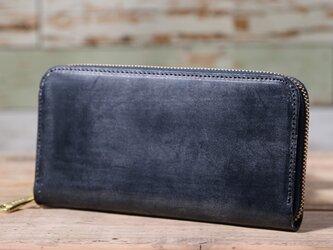 イギリス産 ブライドルレザー トーマスウェア社 ネイビー 長財布 ラウンドファスナー 牛革 皮 ハンドメイド 手作りの画像