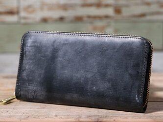 イギリス産 ブライドルレザー トーマスウェア社 黒 長財布 ラウンドファスナー 牛革 皮 ハンドメイド 手作りの画像