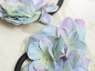 紫陽花(あじさい)の髪飾り☆ヘアゴム 2個セットの画像