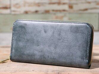 イギリス産 ブライドルレザー トーマスウェア社 グリーン 長財布 ラウンドファスナー 牛革 皮 ハンドメイド 手作りの画像