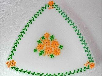 三角の花皿 (緑)の画像