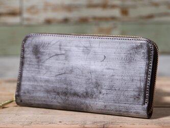 イギリス産 ブライドルレザー トーマスウェア社 チョコ 長財布 ラウンドファスナー 牛革 皮 ハンドメイド 手作りの画像