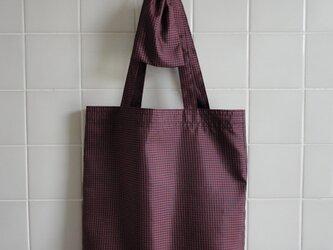 肩掛けエコバッグ 濃茶*赤チェック(小袋付)の画像