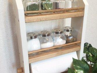 3段kitchen paper shelf 白茶 キッチンペーパー スパイスラックの画像